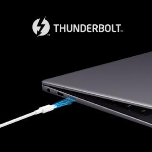 At up to 40 Gb/s, Thunderbol 3 brings lightning speed and performance to USB-C