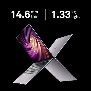 just 14.6 mm thin and weighs only 1.33 kg. Comfortable to take it anywhere