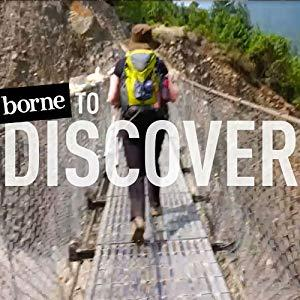 photo of a hiker crossing a rope suspension bridge with headline, borne to Discover