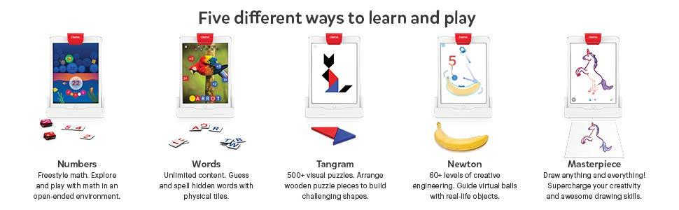 Osmo Apps, Numbers, Words, Tangram, Newton Masterpiece
