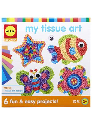 preschool, arts & crafts, tissue paper, peel, stick, butterfly, fish, star, bird